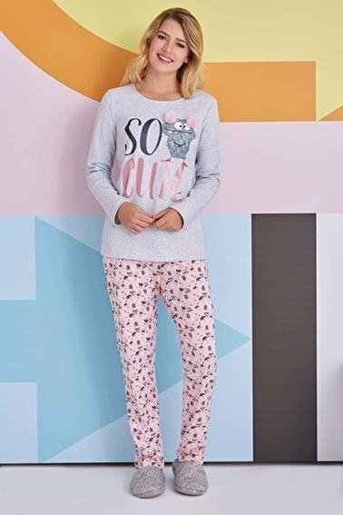 Roly Poly Rolypoly So Cute Kadın Pijama Takımı Açık Gri Gri